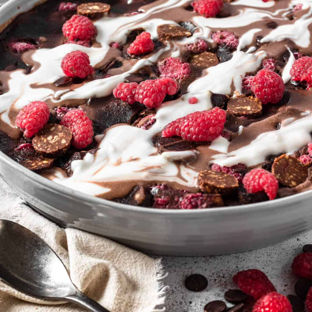 Chocolate raspberry bread and butter pudding