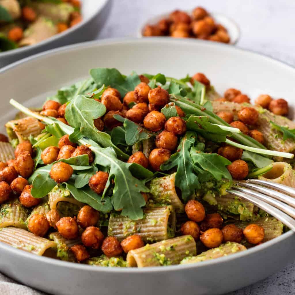 Pesto Pasta with Spiced Chickpeas