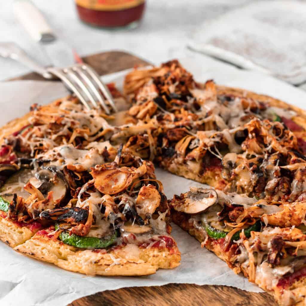 BBQ Jackfruit Chickpea Pizza