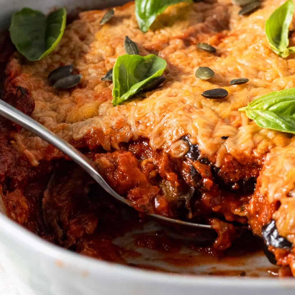 Vegan aubergine parmigiana