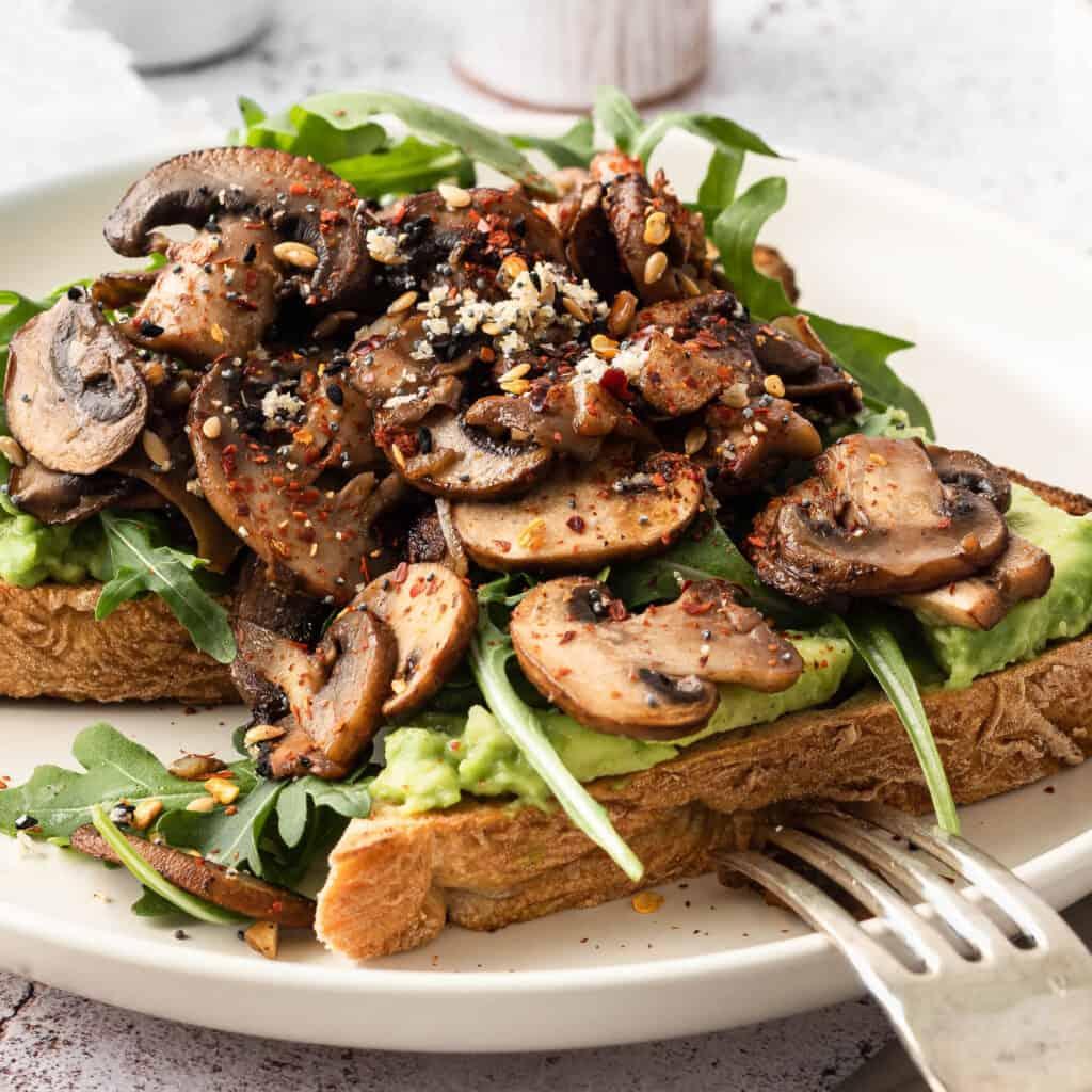 Avocado toast with garlic mushrooms